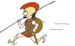 Un hoplita era un soldado de infantería griego armado con un escudo, una lanza, una espada corta y las glebas. Luchaban formando falanges de soldados en las que cada uno defendía con su escudo su flanco izquierdo y el derecho del compañero. Esta formación requería de una gran compenetración para ser efectivaPara ser efectiva necesitaba u
